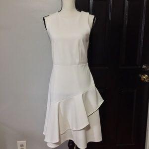 Ann Taylor ivory ruffle dress sz4P
